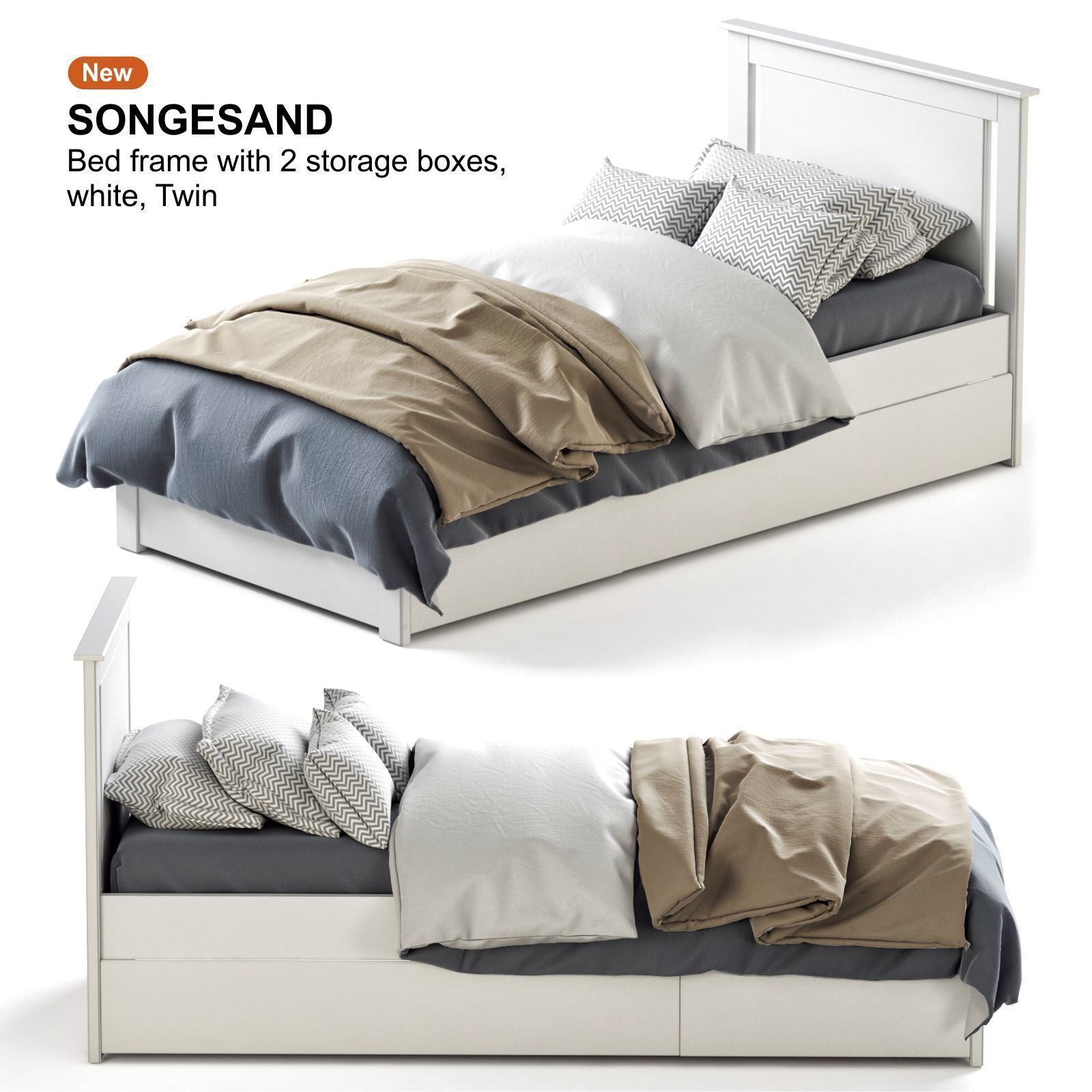 Ikea Songesand White Bed 3d Cgtrader