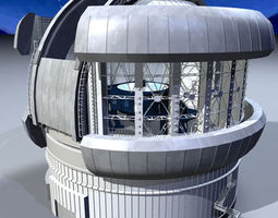 3D model Observatory with telescope
