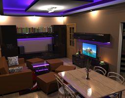 3d flat interior 2