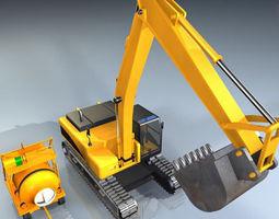 3d excavator and concrete mixer