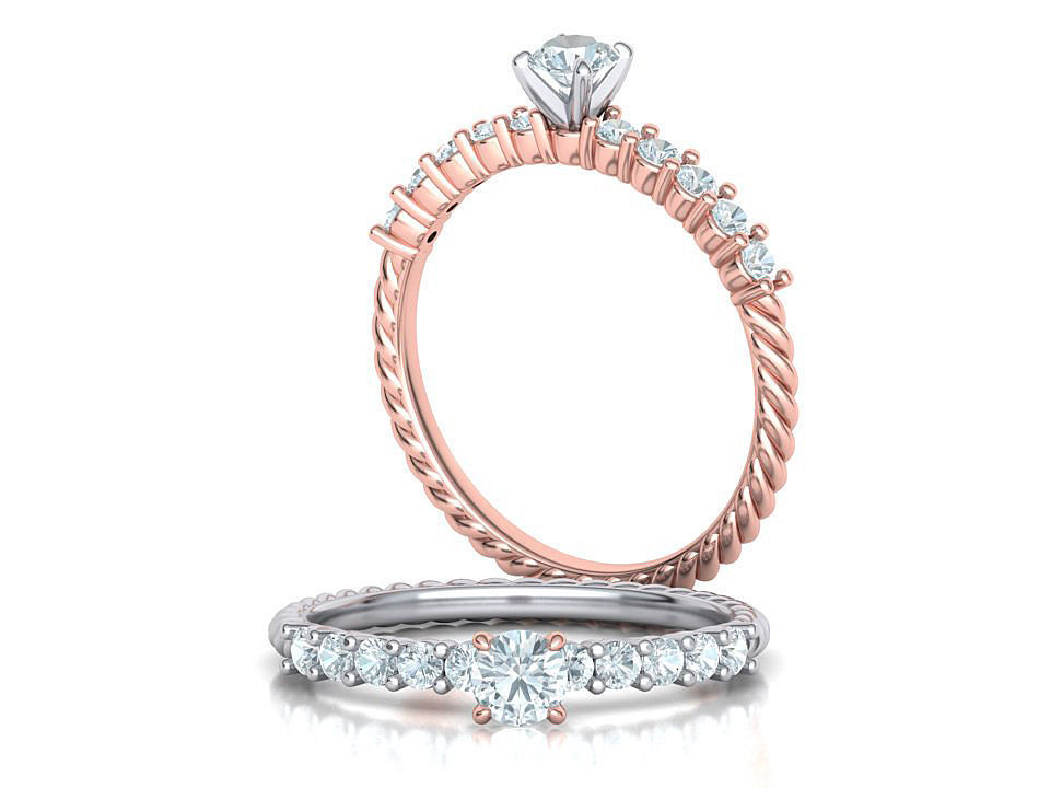 Rope Diamond Engagement ring with 4mm stone