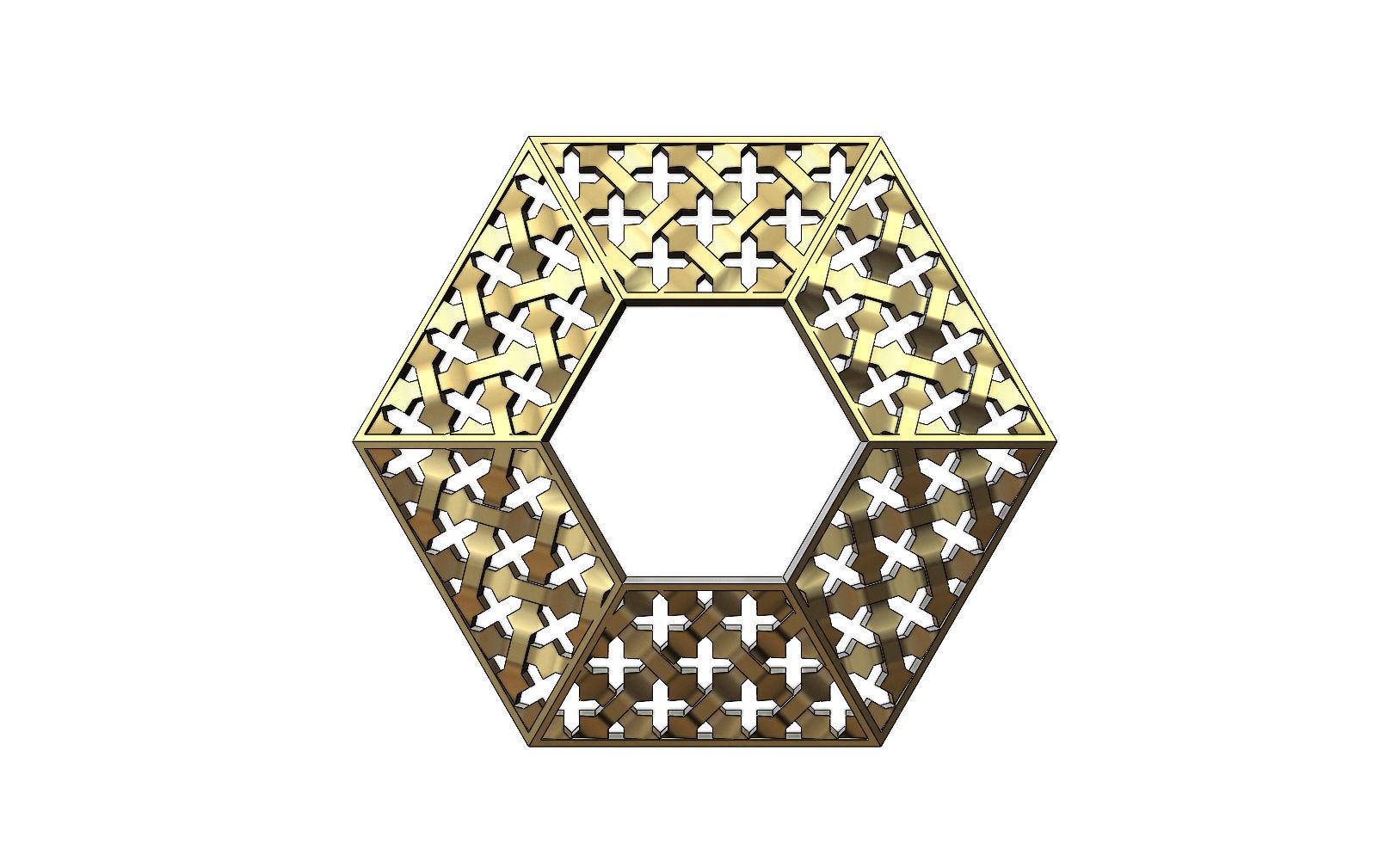 Gold hexagonal moucharabieh pendant