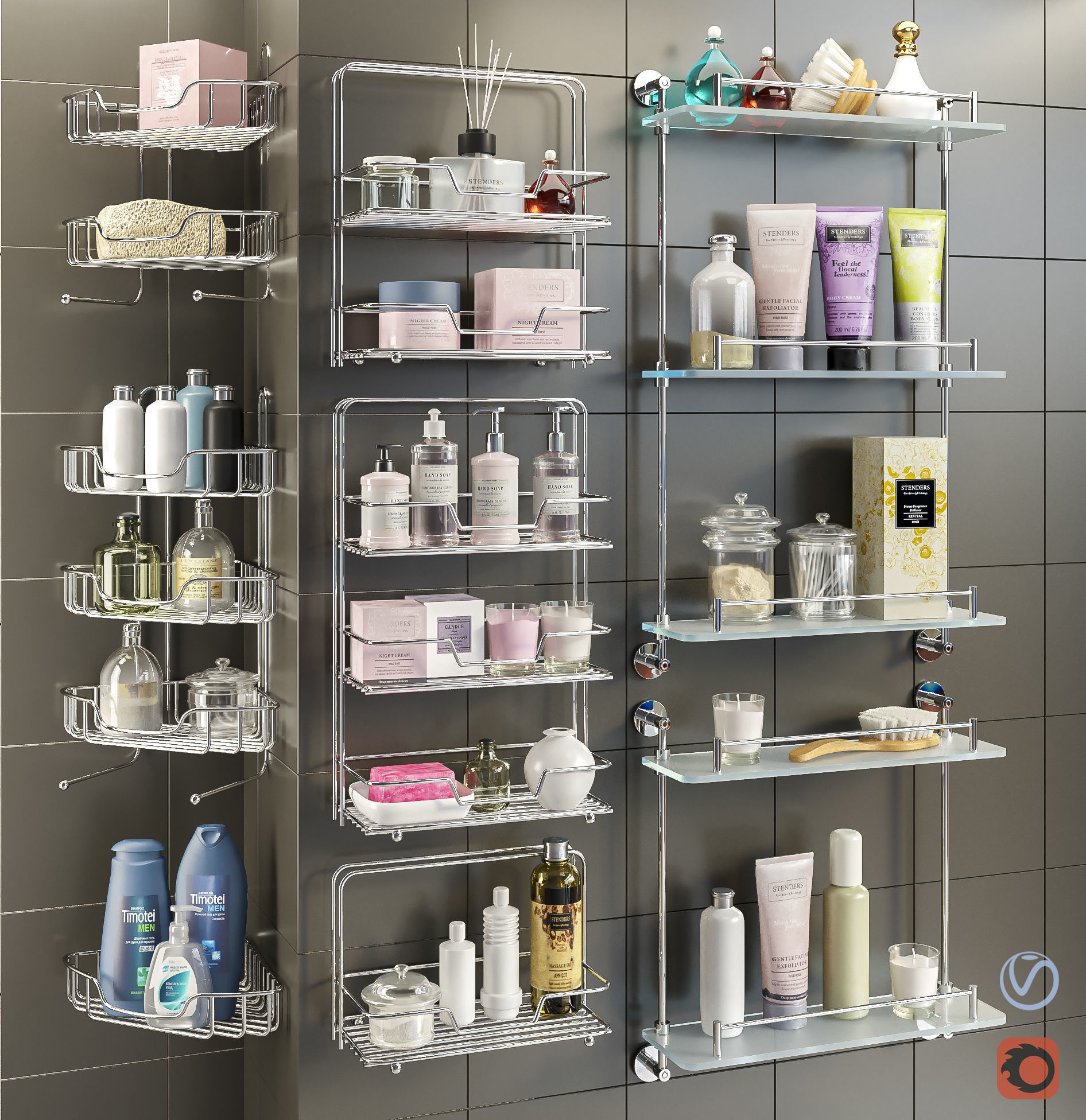 Accessories and cosmetics for the bathroom set 1