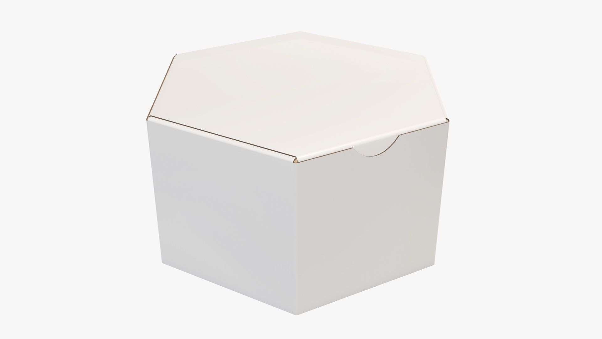 Paper box hexagonal closed 01 corrugated cardboard white