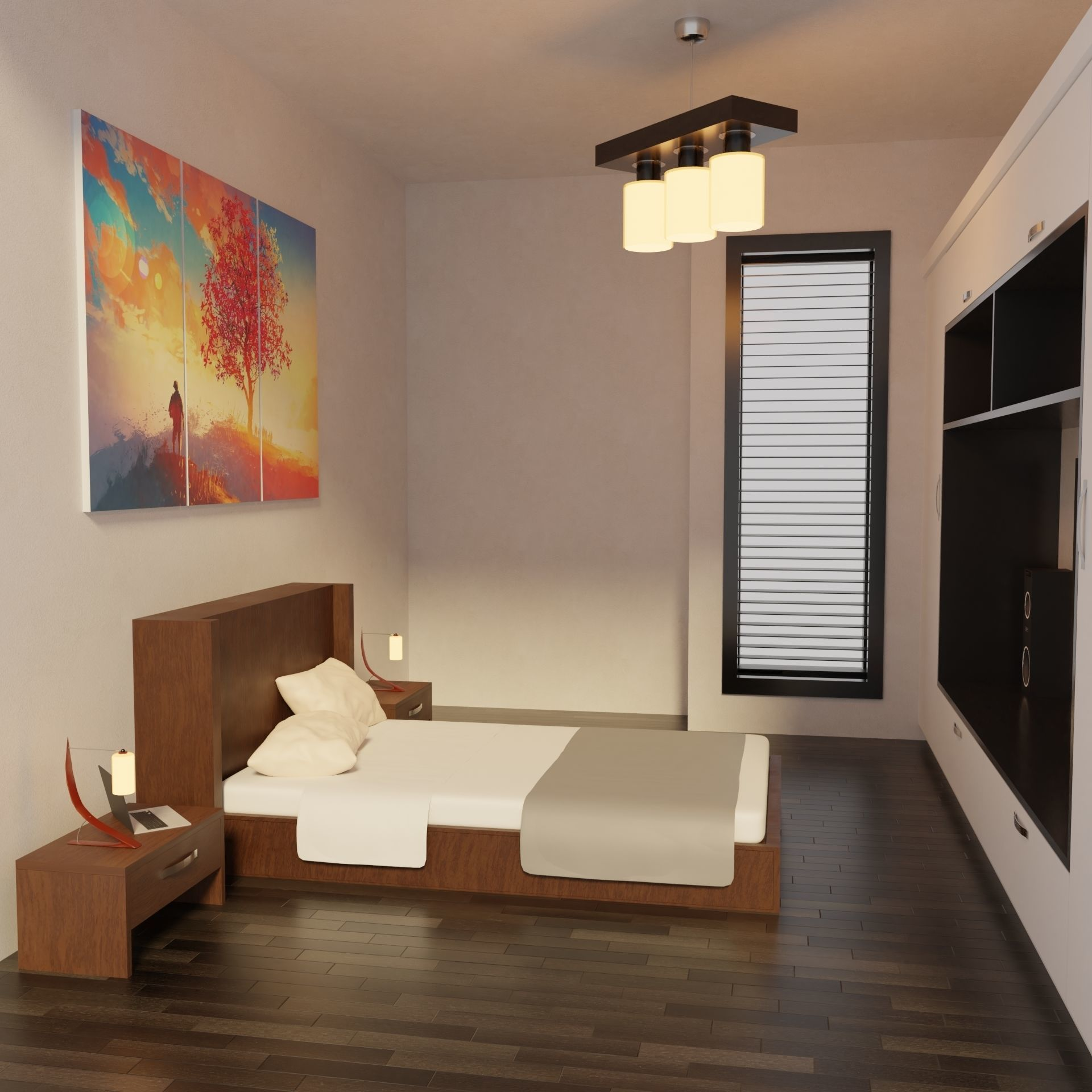 Modern Bedroom - Hotel Room