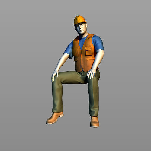 The builder sits on a beam 1