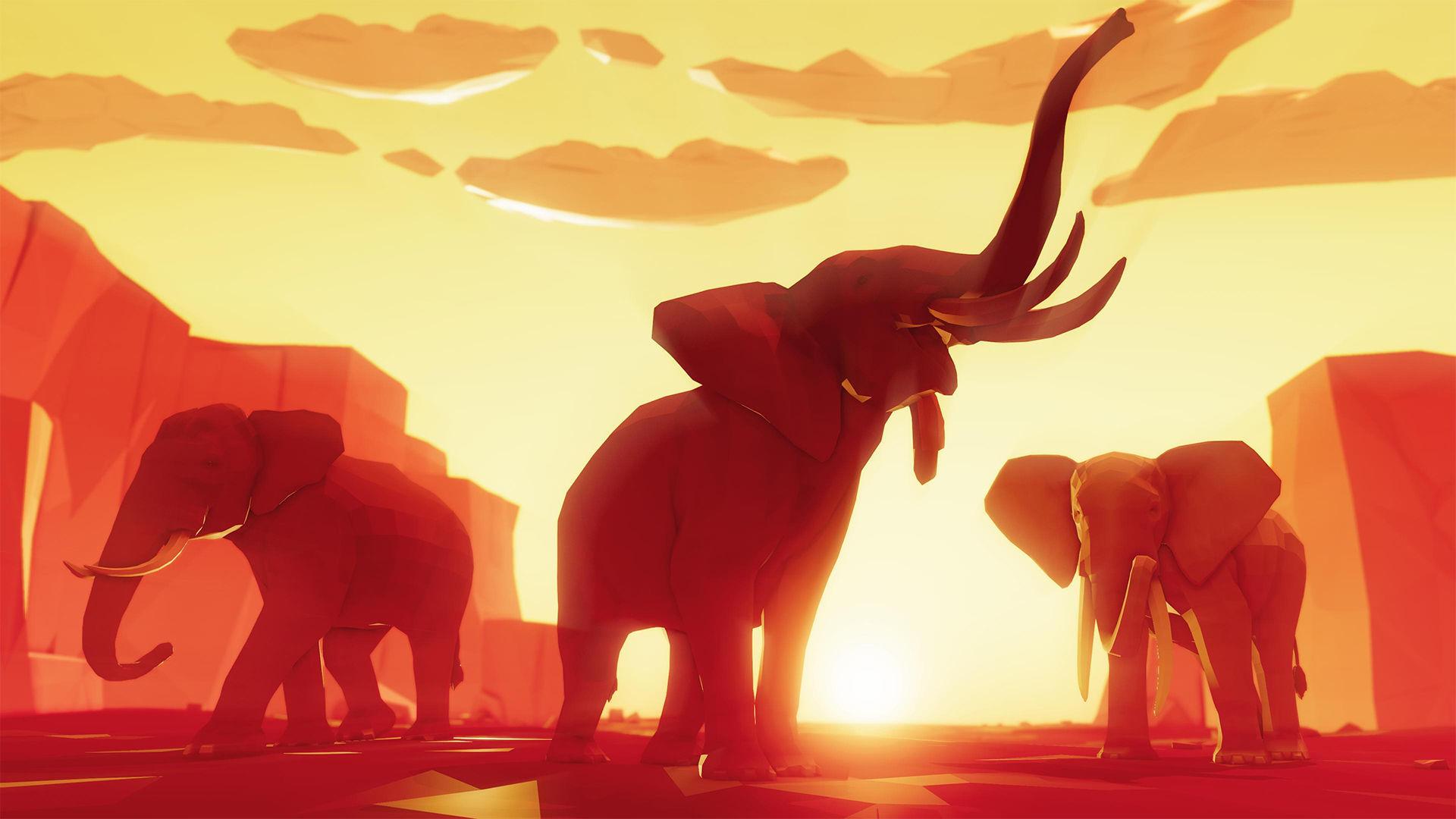 Poly Art Elephants