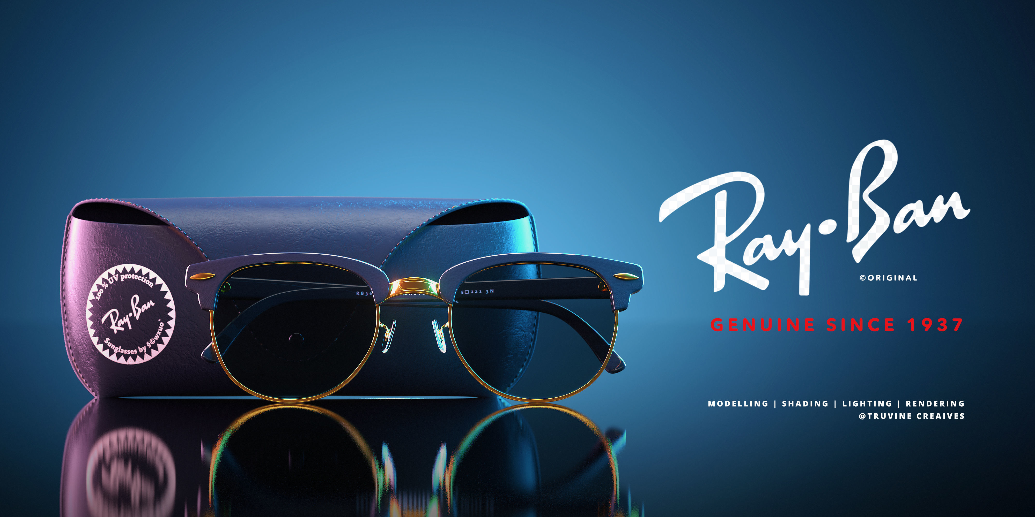 RayBan Glasses and  Case Low Poly