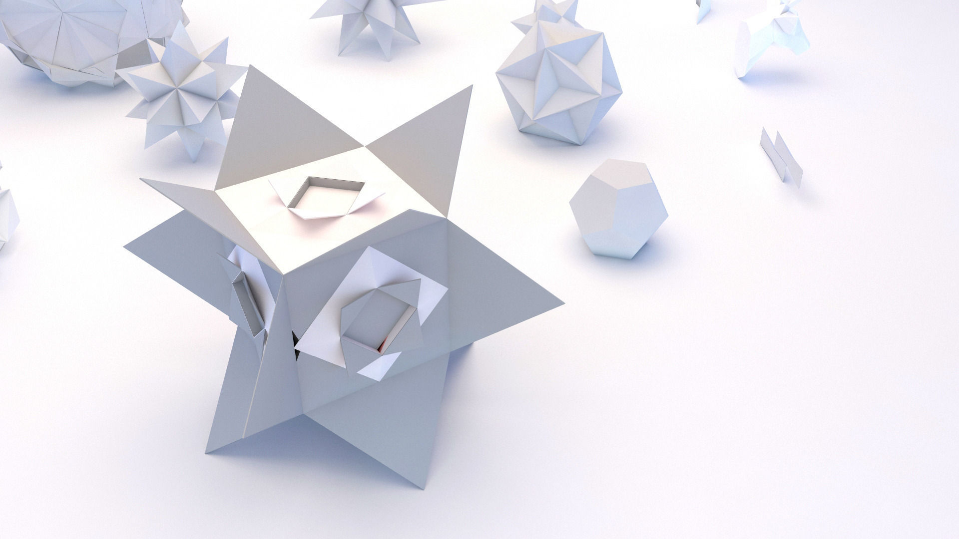 Origami Geometric 3D Model MAX OBJ 3DS FBX MTL | CGTrader.com - photo#46