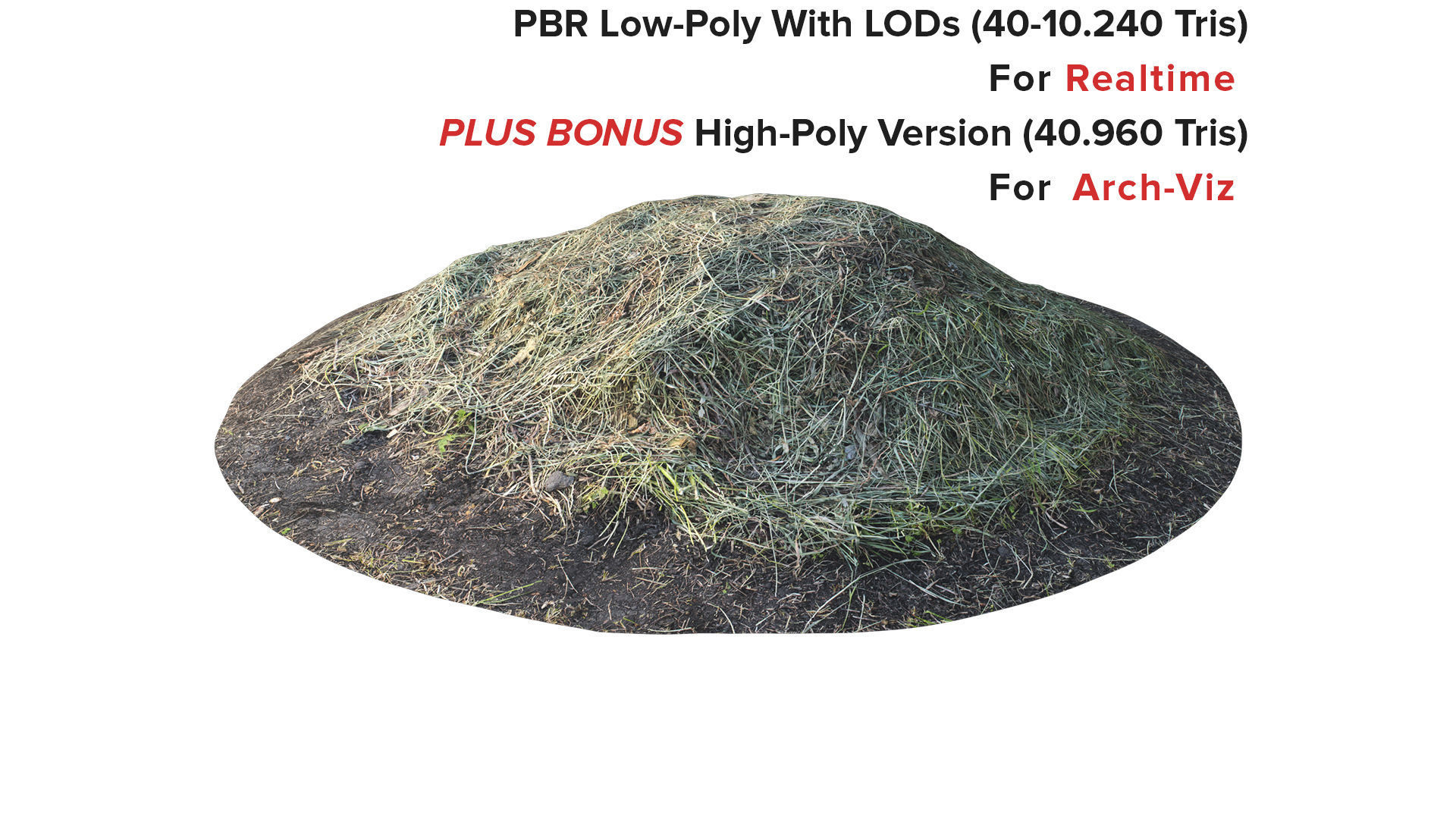 Props For Exterior - Mowed Grass - Scanned Pile Of Hay