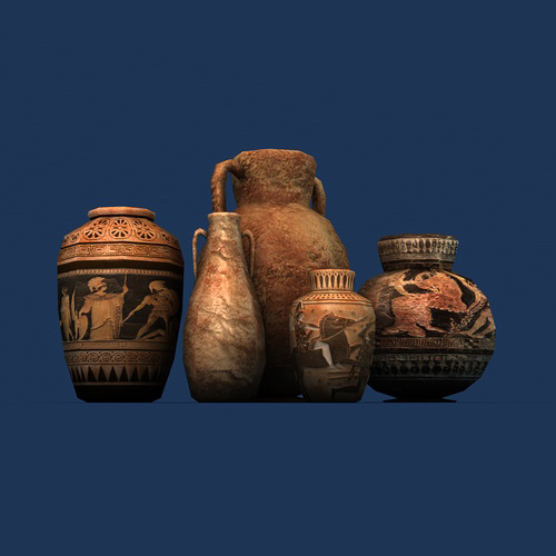 Low poly greek pottery