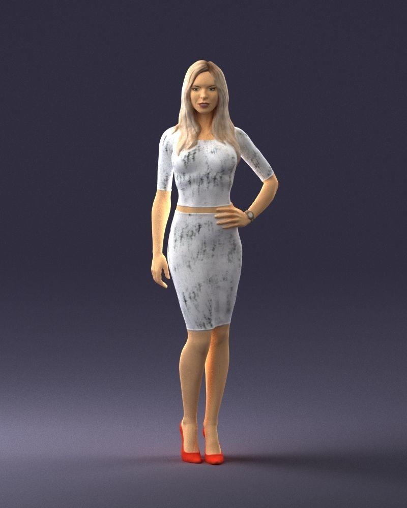 Slender blonde girl in top and skirt 2021