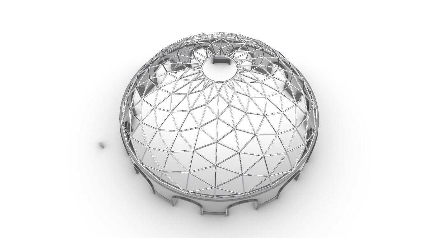 Triangulated Dome Pavilion wireframe structure