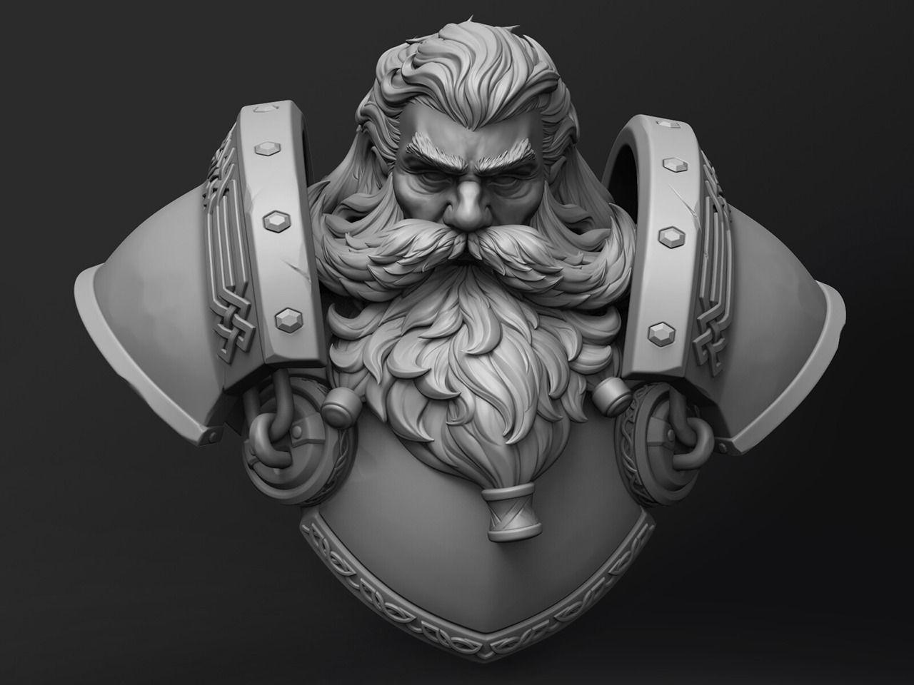 Stylized Dwarf Bust Statue
