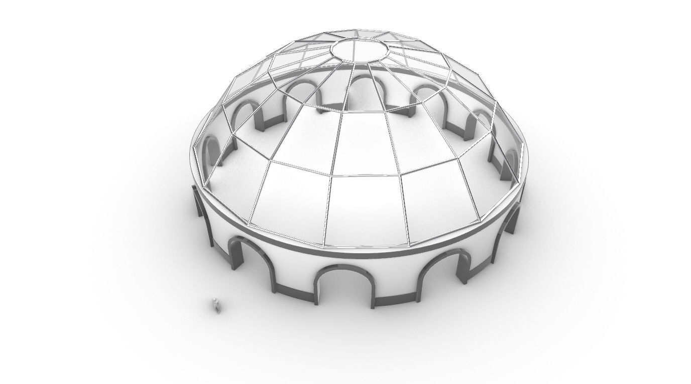 Dome Pavilion with Square Wireframe Structure and Panels