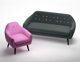 3D Sofa and Armchair Ritchie Set