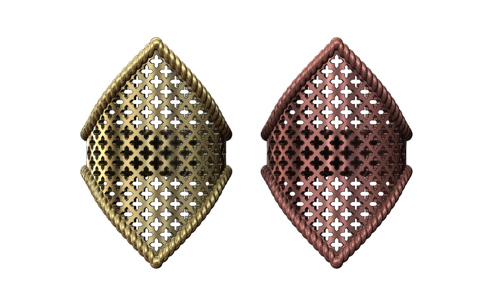 Moroccan beldi ring with moucharabieh pattern