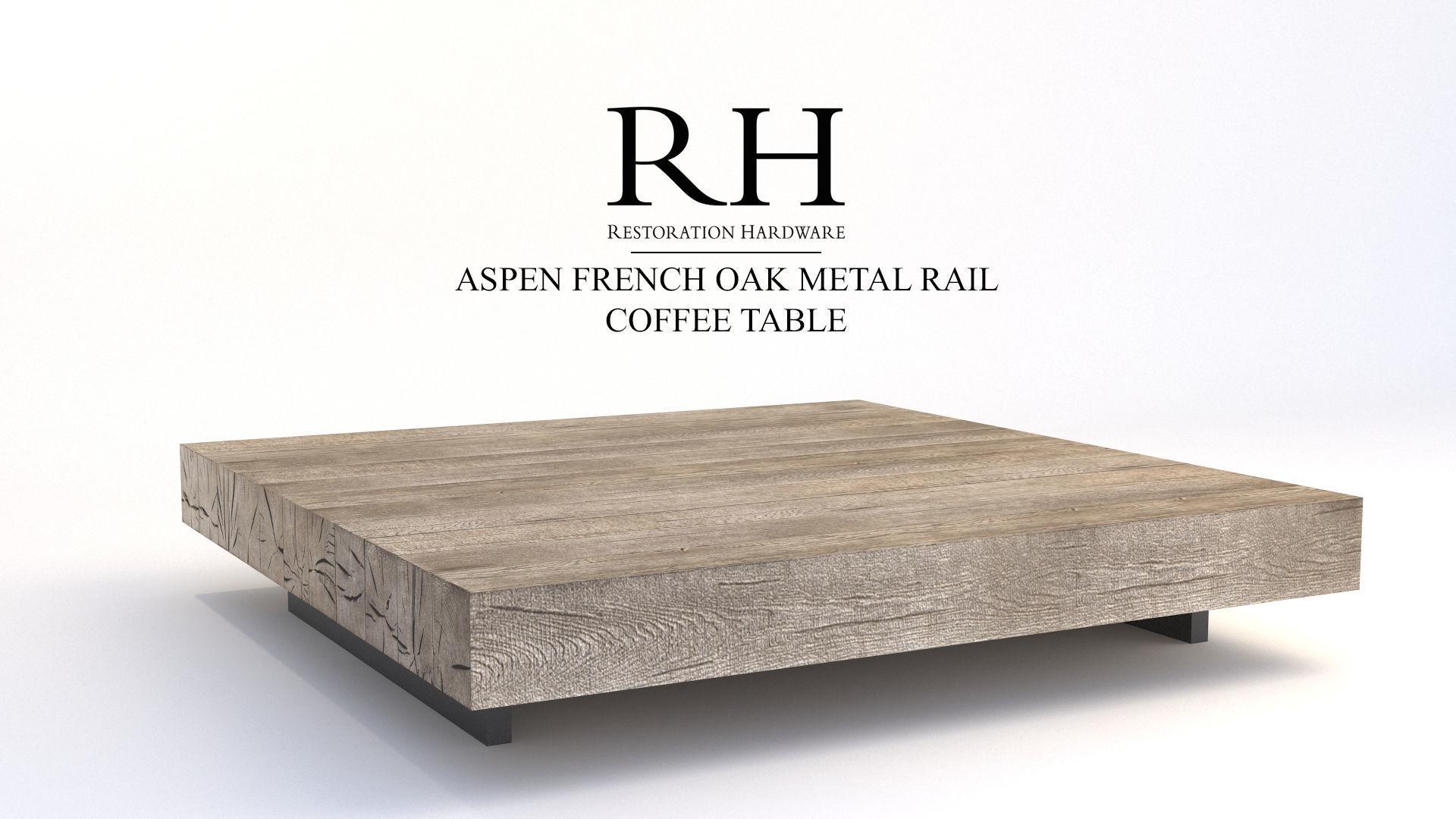Restoration Hardware Aspen French Oak Metal Rail Coffee Table