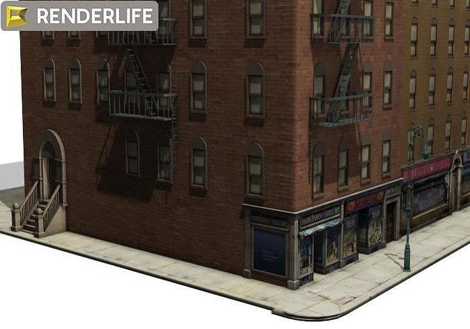 town buildings 03 3d model max obj mtl fbx c4d ma mb 1
