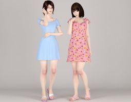 3D Natsumi and Mariko dress pose 01
