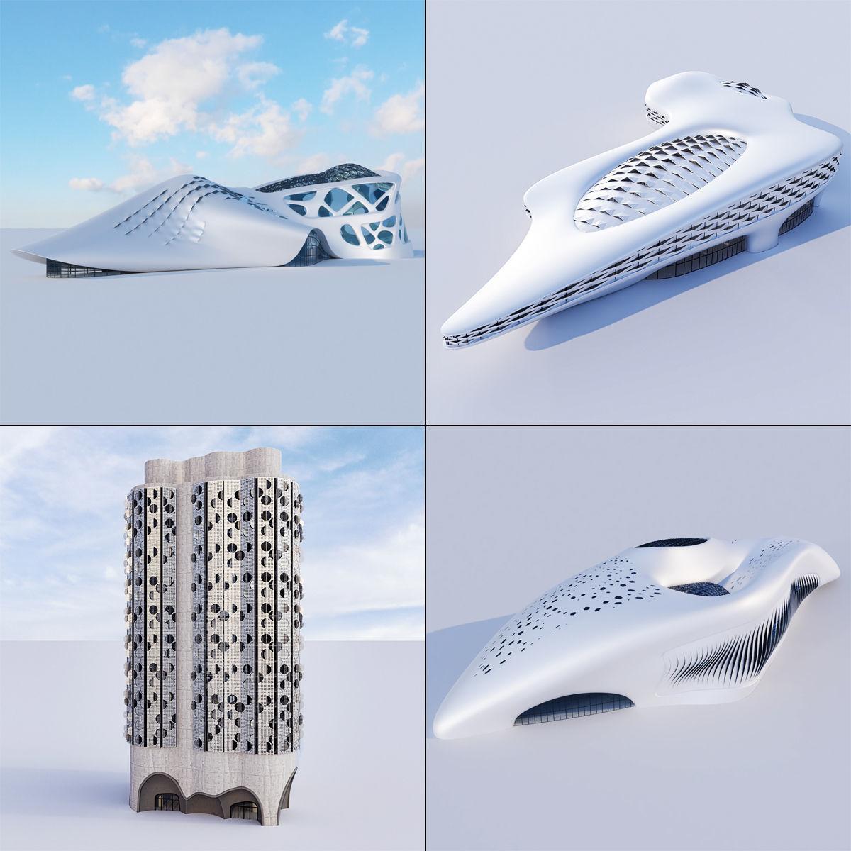 Futuristic building collection 4x 3