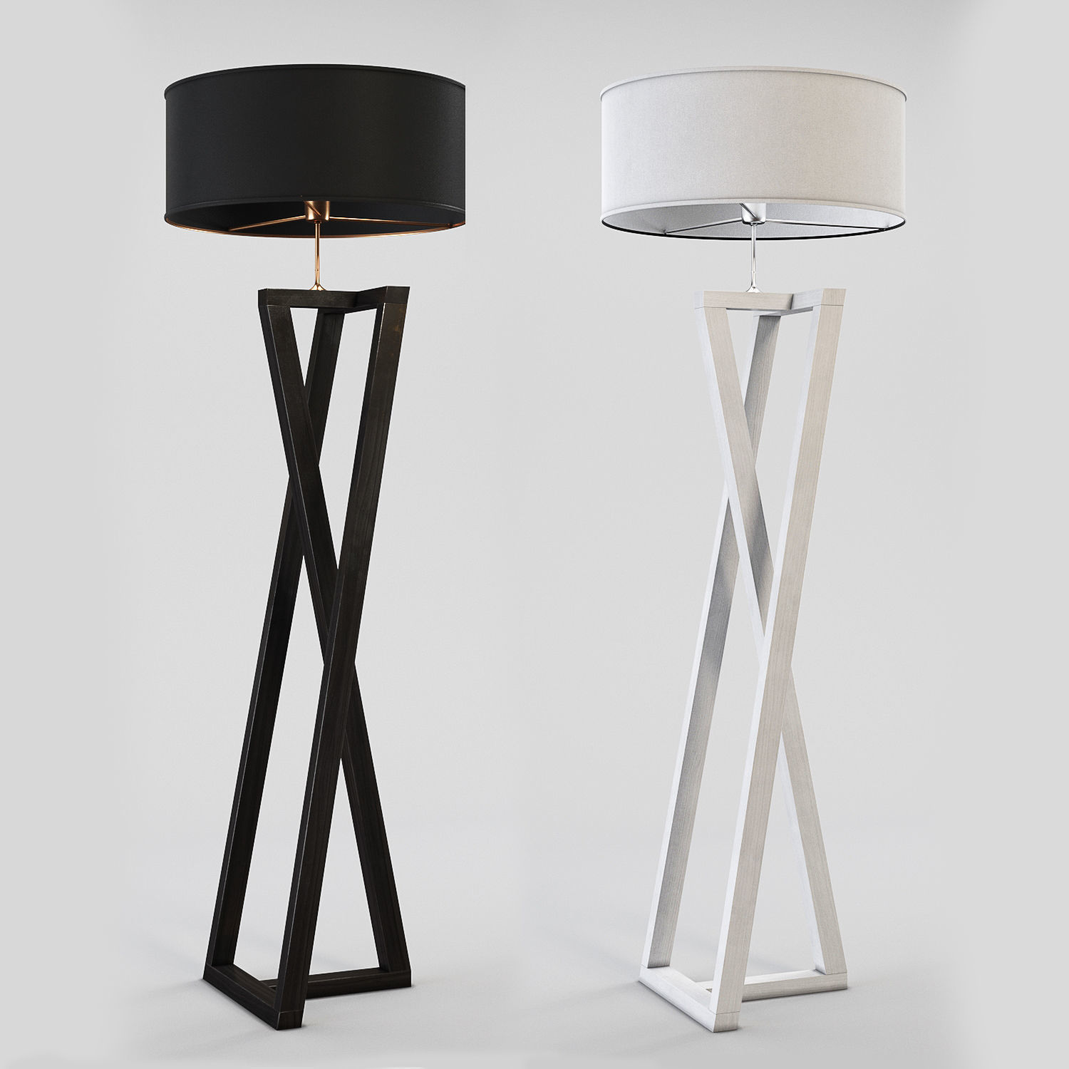 Picture of: 3d Floor Lamp Black And White Wood Cgtrader