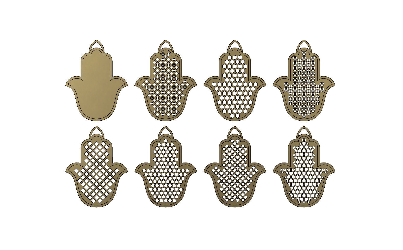 20 Flat Khamsa Khmissa beldi pendant with moucharabieh patterns