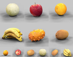 realtime 3d asset 6 fruits collection