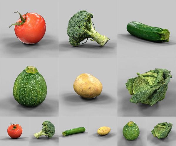 6 vegetables 3d model obj 1