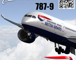 boeing 787-9 british airways livery 3d model low-poly rigged animated max 3ds fbx