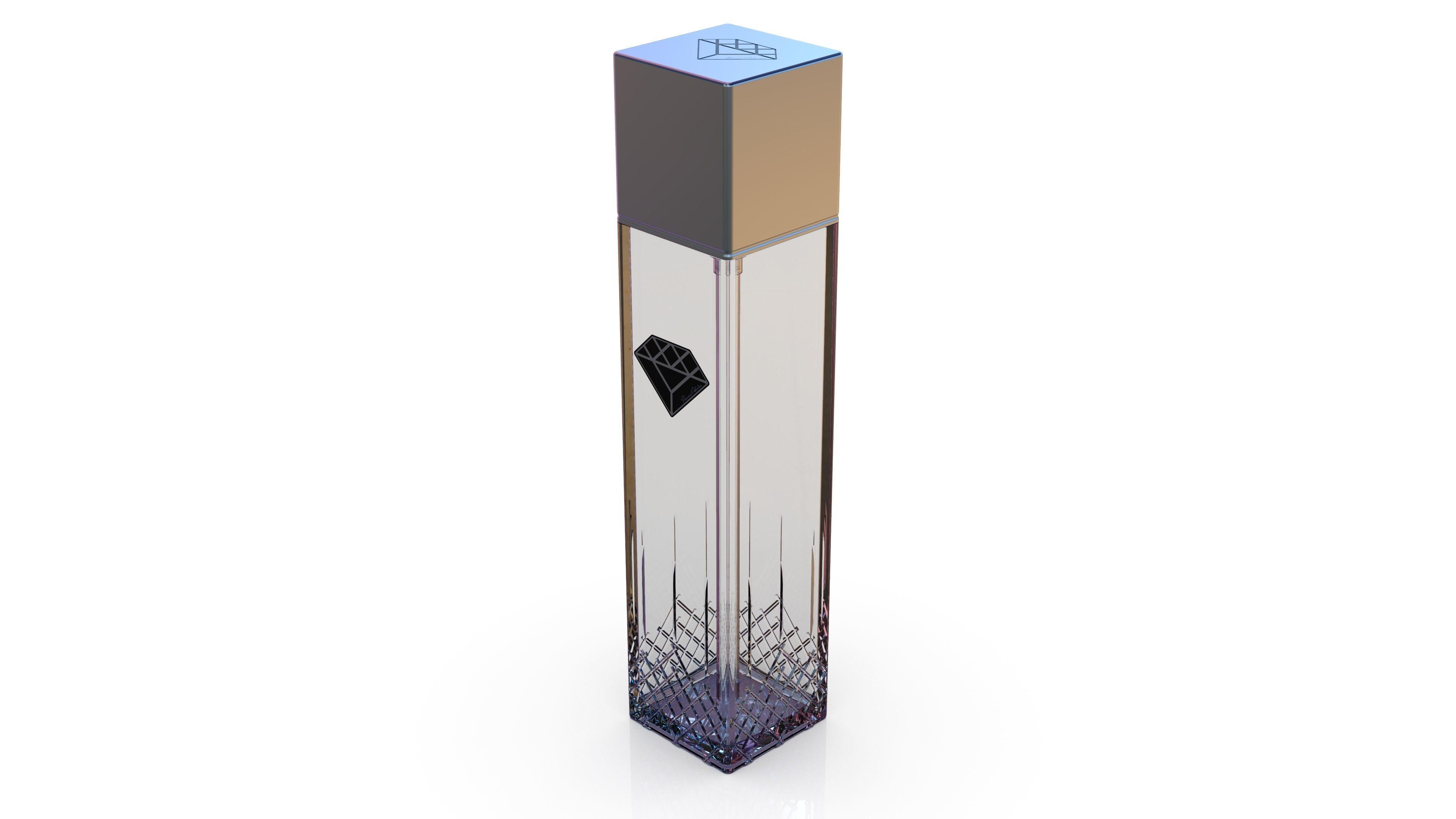 Diamond cosmetics bottle - 42x42 mm - V - 180 mL