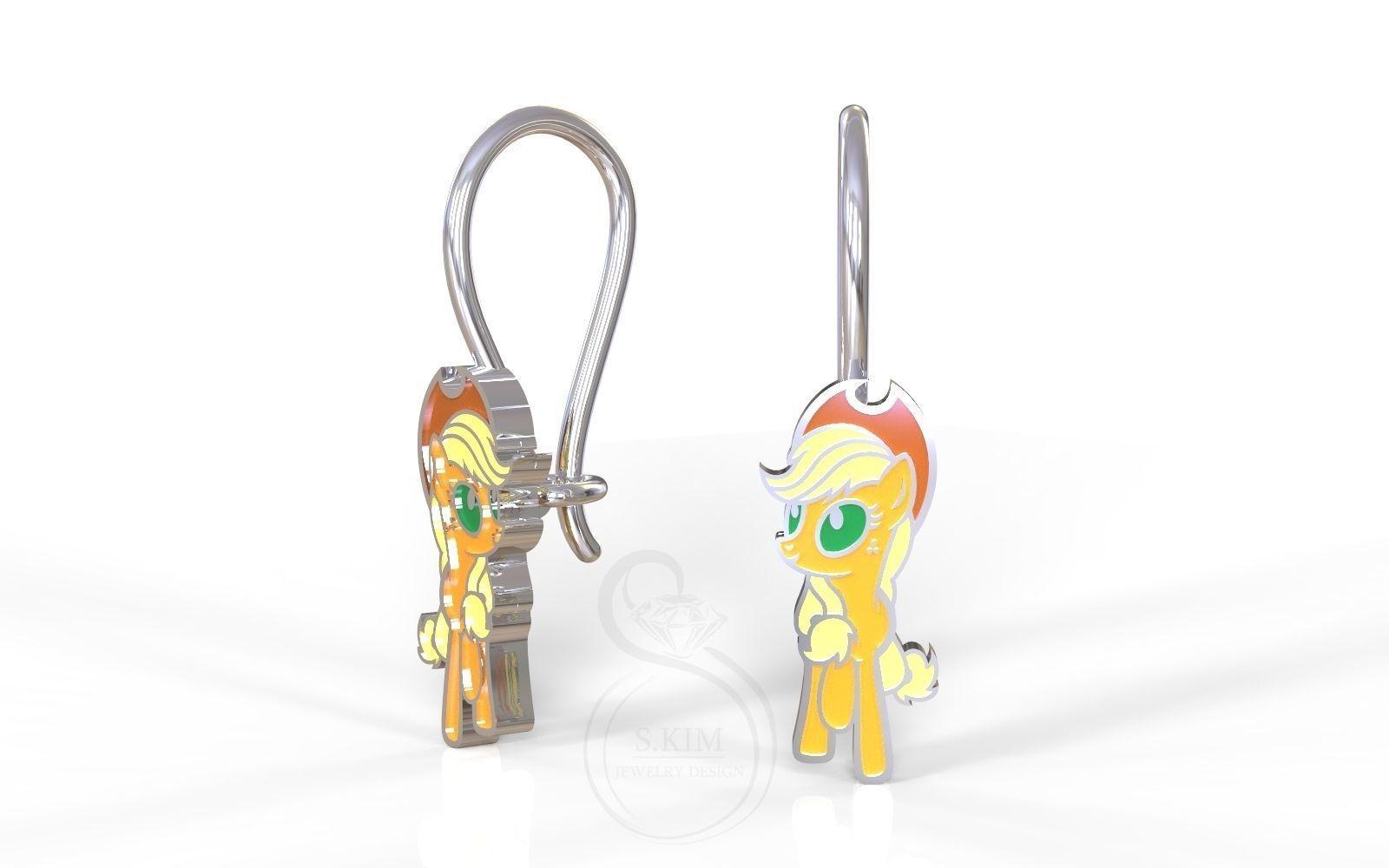 Applejack pony kid earrings