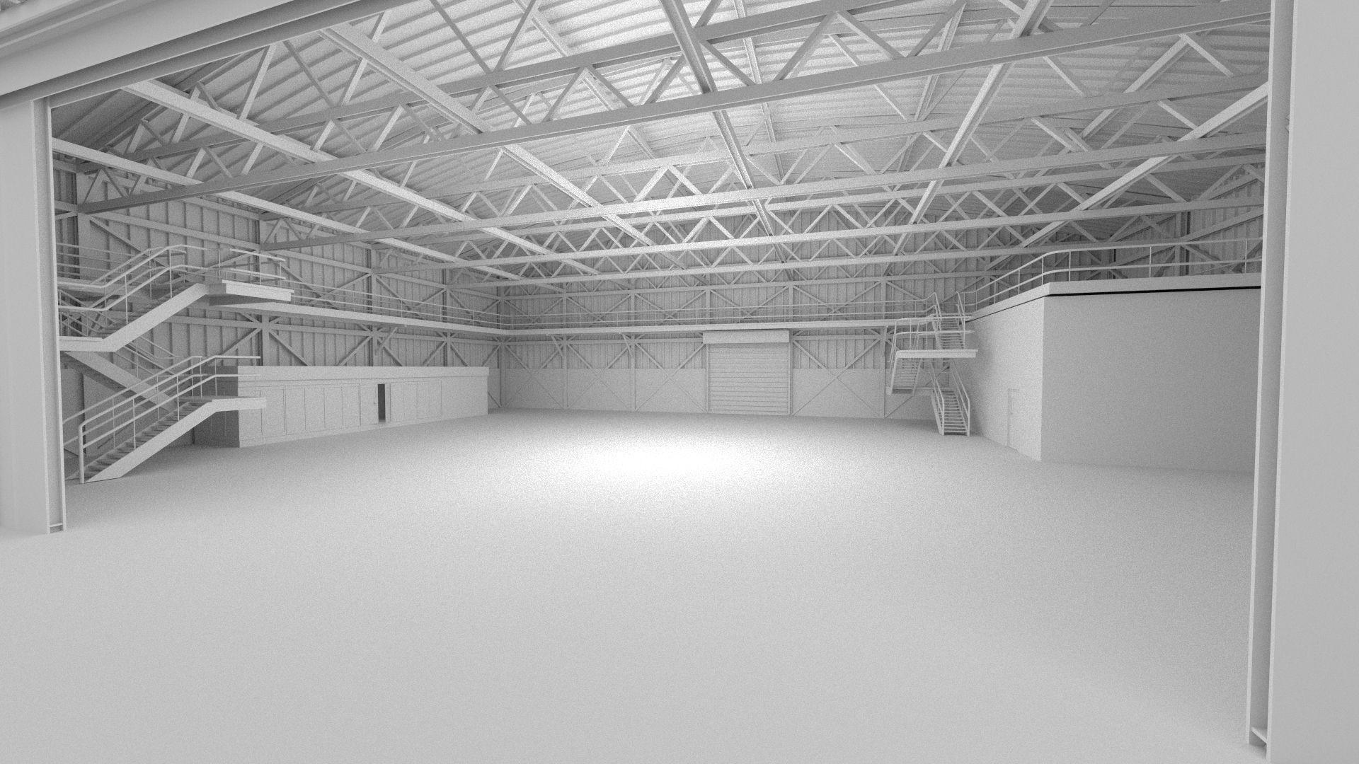 Hangar Scene Free Vr Ar Low Poly 3d Model Obj Fbx