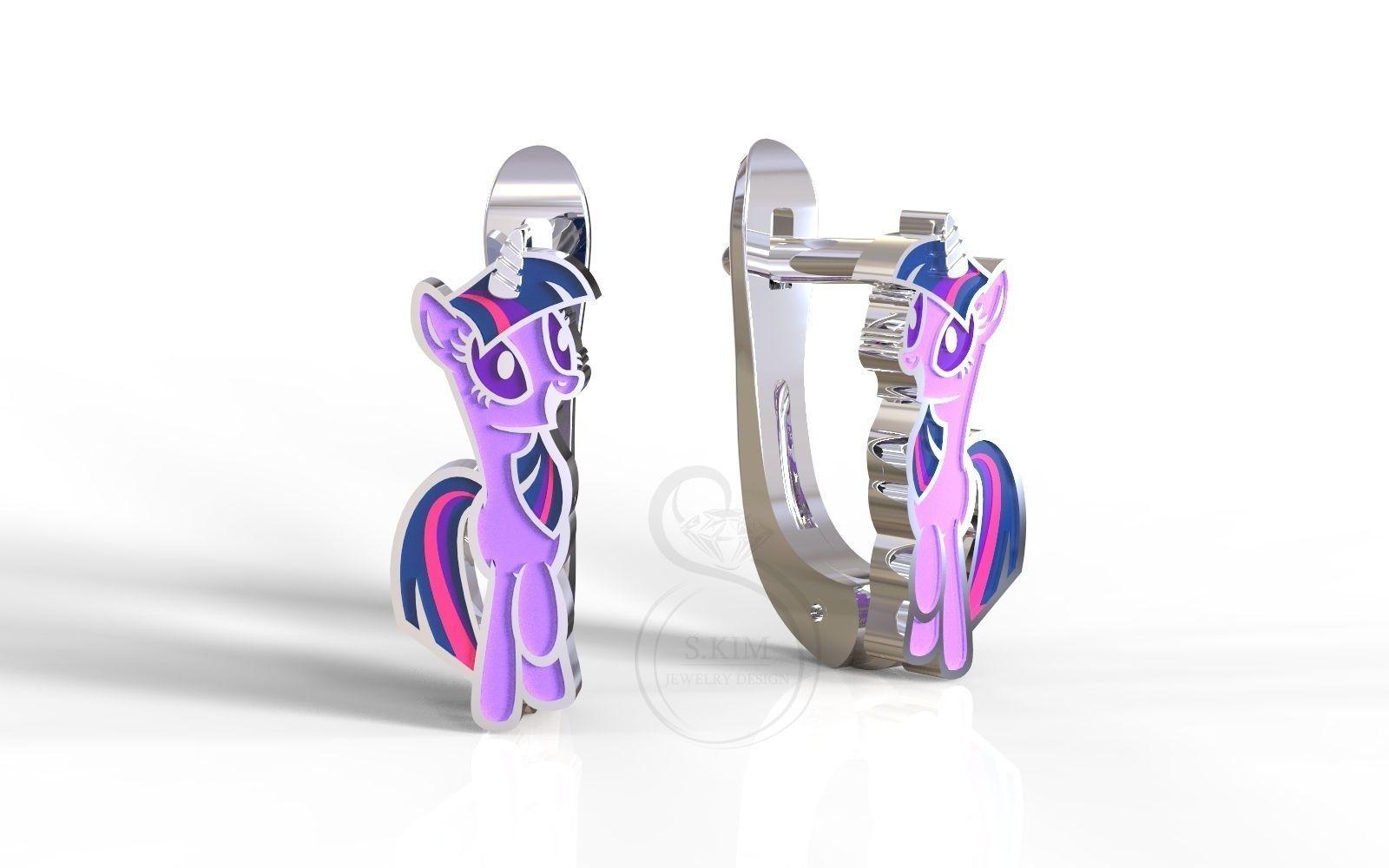 Twilight Sparkle pony kid earrings