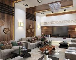 3D Modern L shape living room