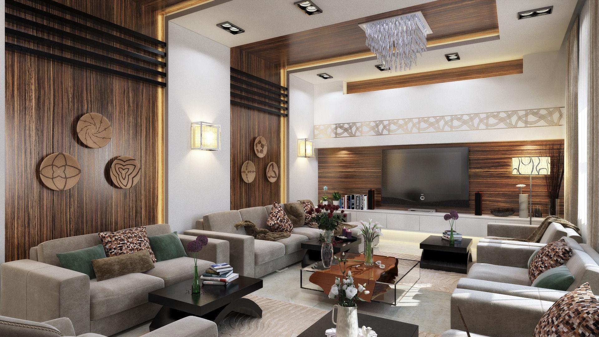Modern L Shape Living Room 3d Model Max ...