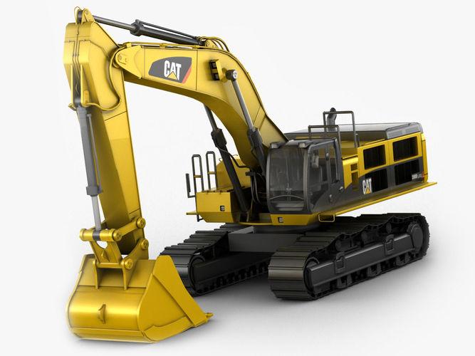 excavator cat 390d 3d model max obj 3ds fbx c4d lwo lw lws 1