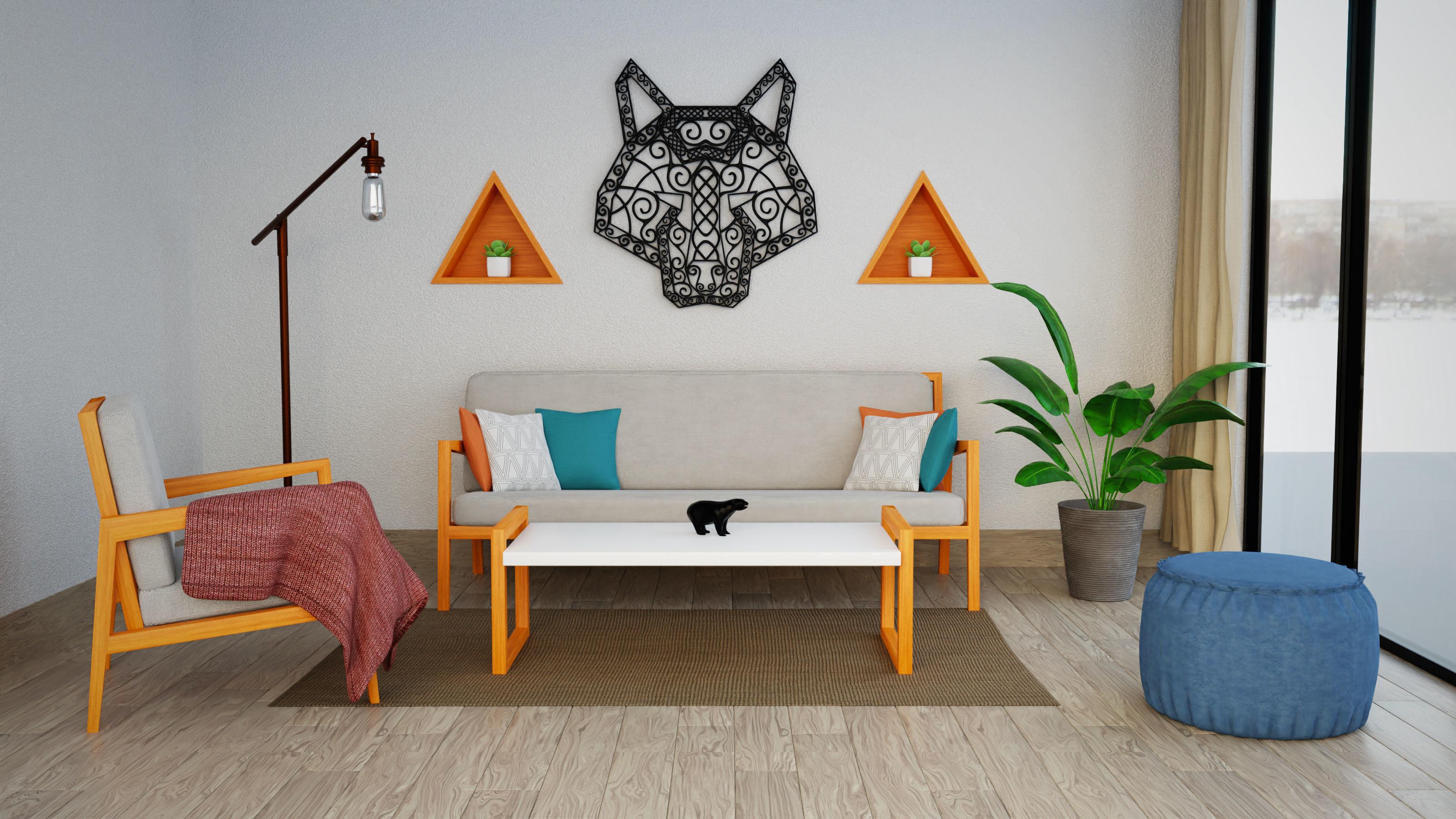 Model Scandinavian Living Room With