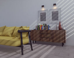living room with yellow sofa 3D