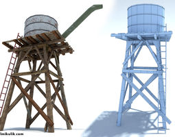 low poly wild west water tank VR / AR ready 3d model