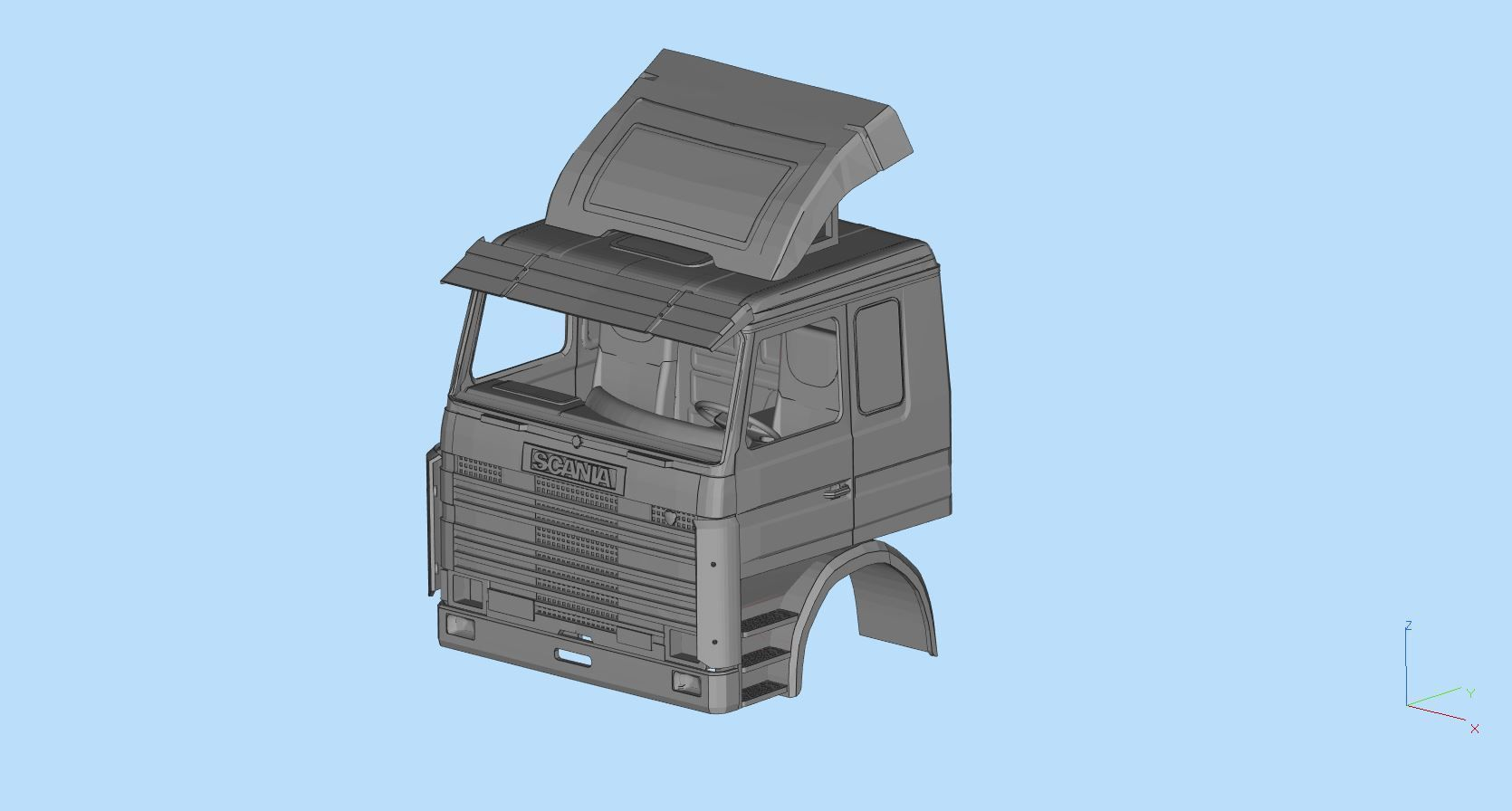 Scania 113m Cabin stl files for 3d printing rc car bodies