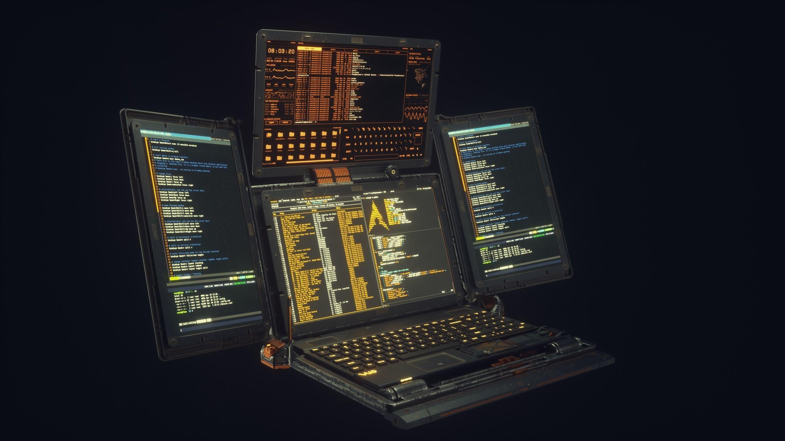 Cyberpunk Hacker Laptop