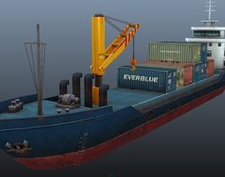 Cargo Ship - low poly 3D model