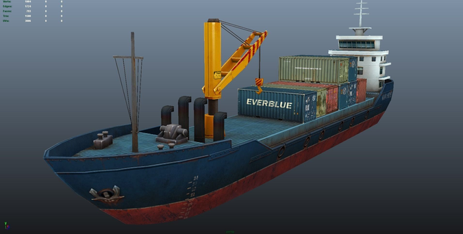 Cargo Ship Low Poly 3d Model Cgtrader
