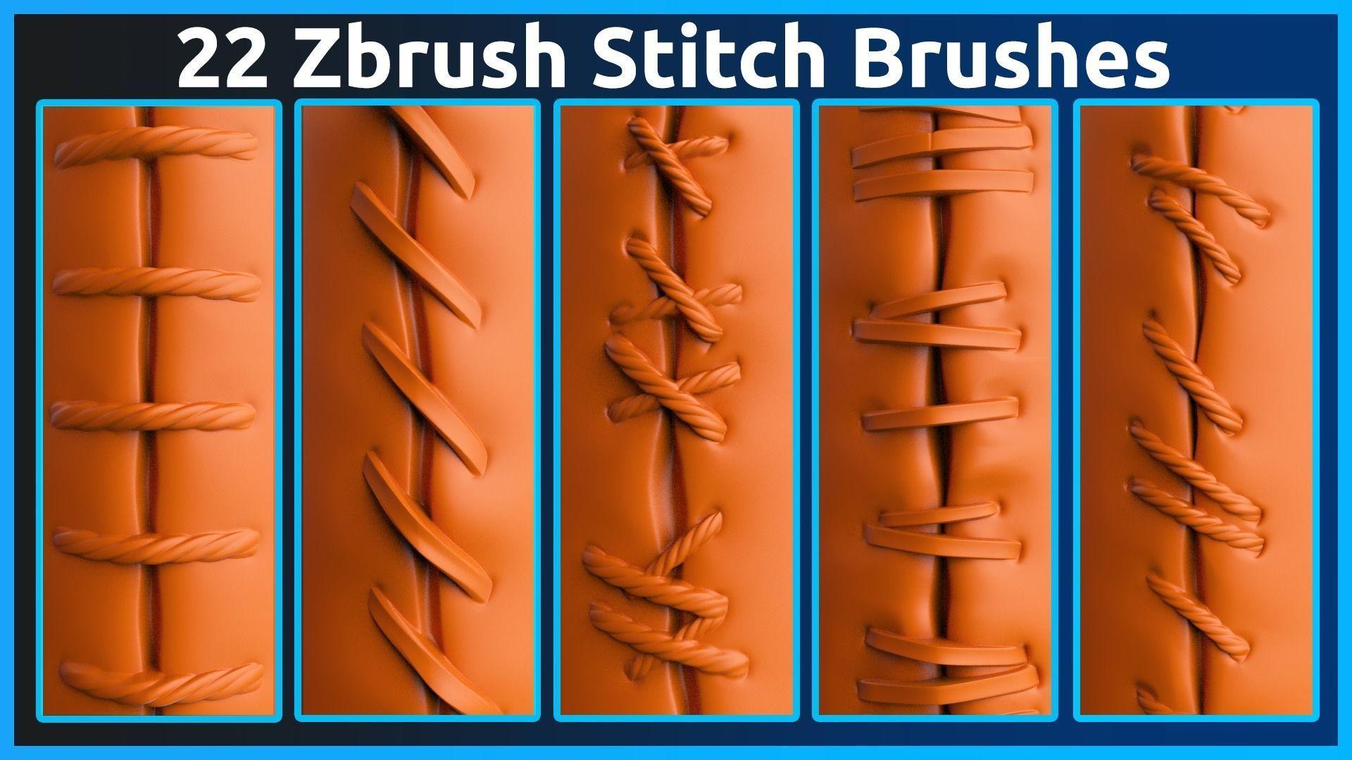22 Zbrush Stitch Brushes
