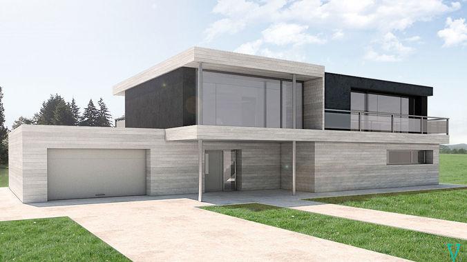 modern house by vv 3d model skp 1