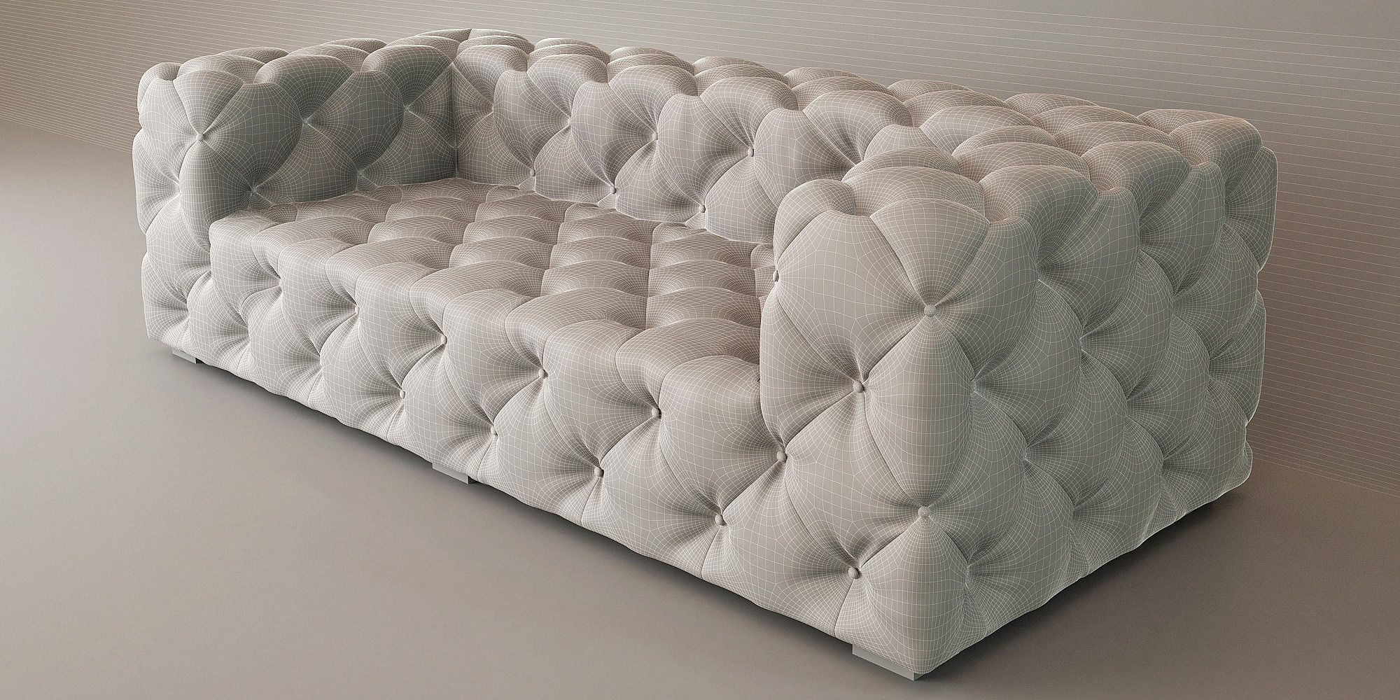 Soho Tufted Leather Sofa Model Max Fbx 2