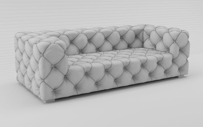... Soho Tufted Leather Sofa 3d Model Max Fbx 3 ...