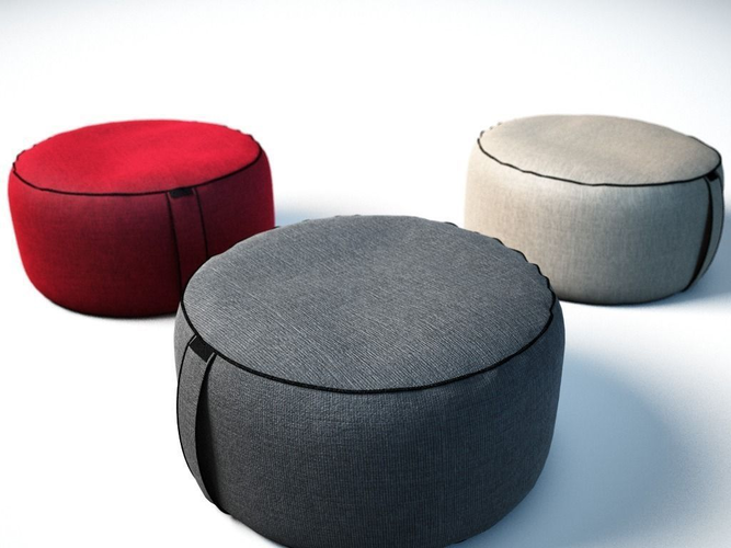 Bean Bag Ottomans 3d Model Obj Mtl 3ds Fbx C4d 1