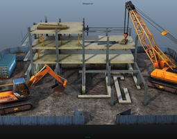construction pack - crane - digger and props - low poly realtime 3d asset